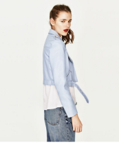 zara blue biker jacket