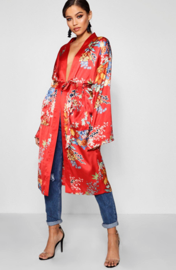 boohoo red kimono