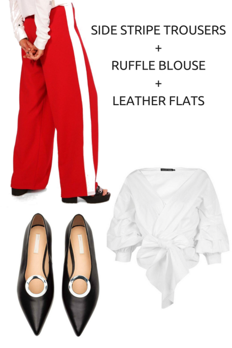 SIDE STRIPE TROUSERS+RUFFLE BLOUSE+LEATHER FLATS.png