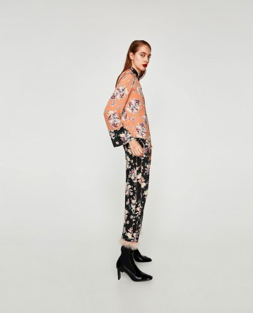 zara feather pants
