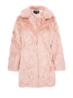 quiz pink faux fur coat