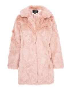 quiz pink faux fur coat