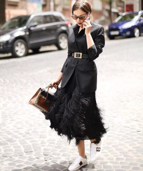 black feather skirt outfit