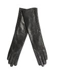 warmed long leather gloves