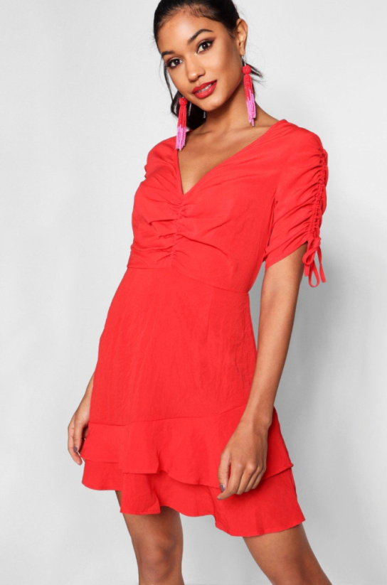 boohoo ruched tea dress