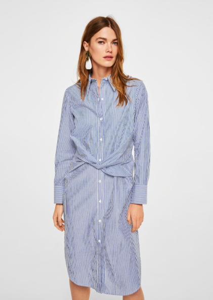 mango knot striped dress