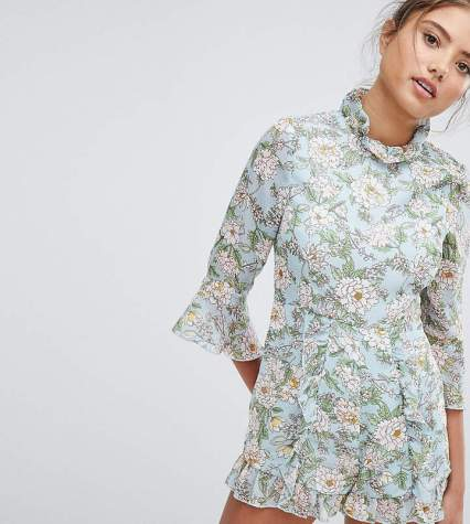 prettylittlething floral playsuit