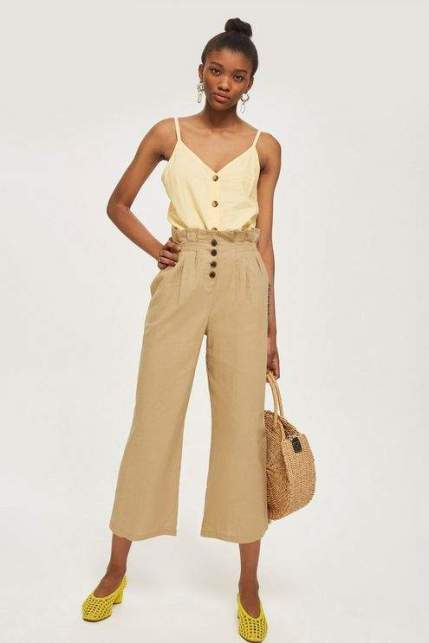 topshop buton crop trousers