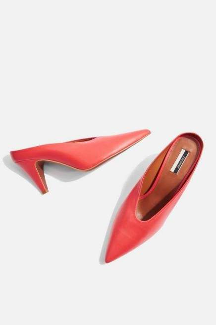 topshop red leather mules