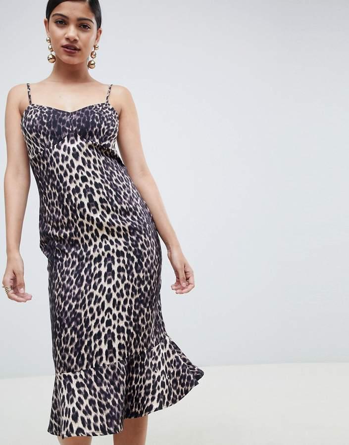asos leopard slip