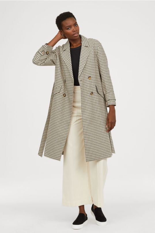 H&M check coat