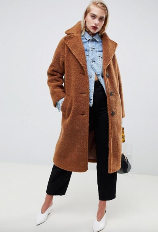 asos design teddy coat