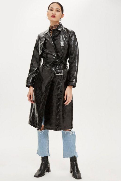 topshop croco coat