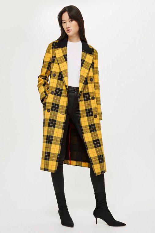 topshop tall tartan coat