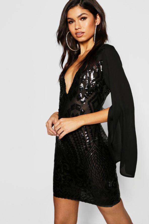 boohoo sequin chiffon dress