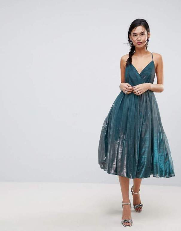 asos metallic tulle dress