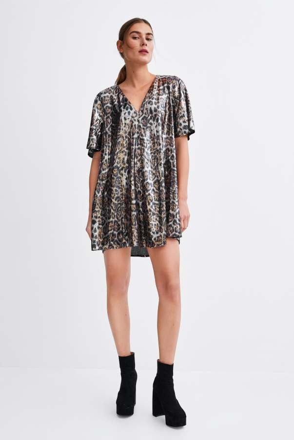 zara animal sequin dress
