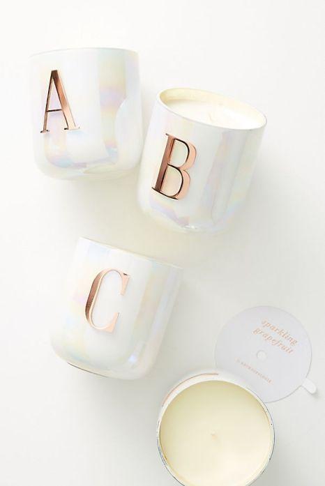 anthropologie monogram candle