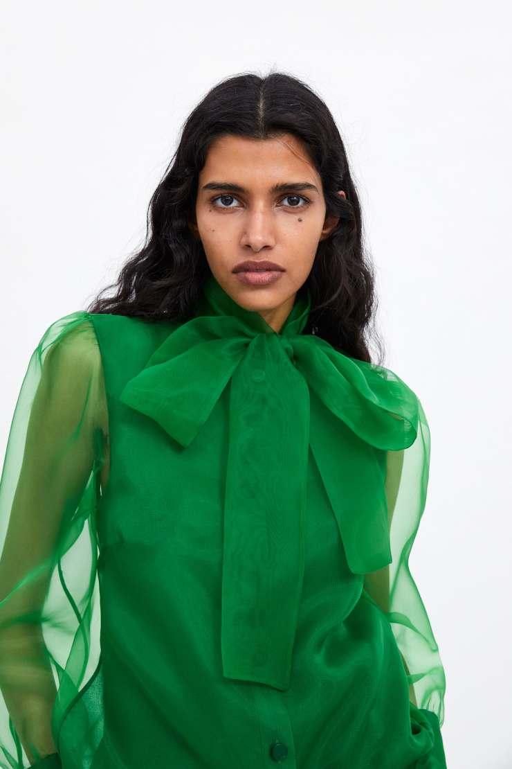 zara organza blouse