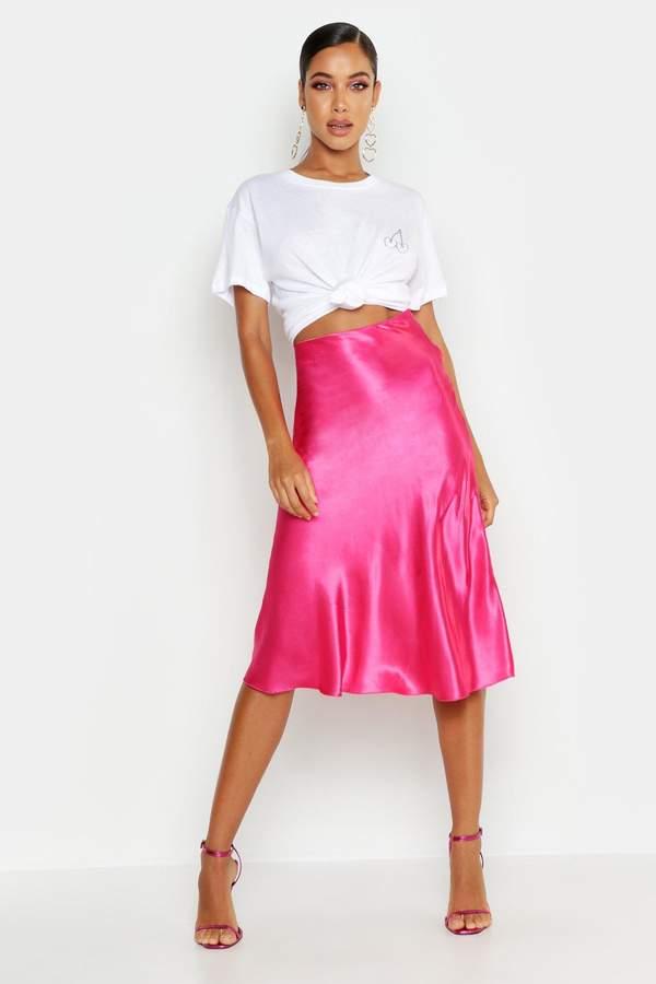 boohoo satin skirt
