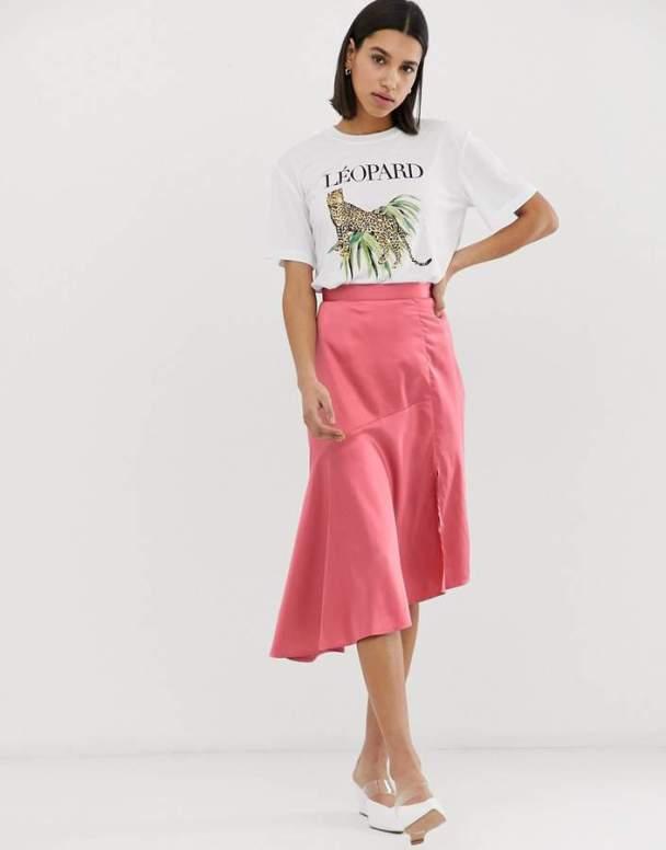 neon rose satin skirt