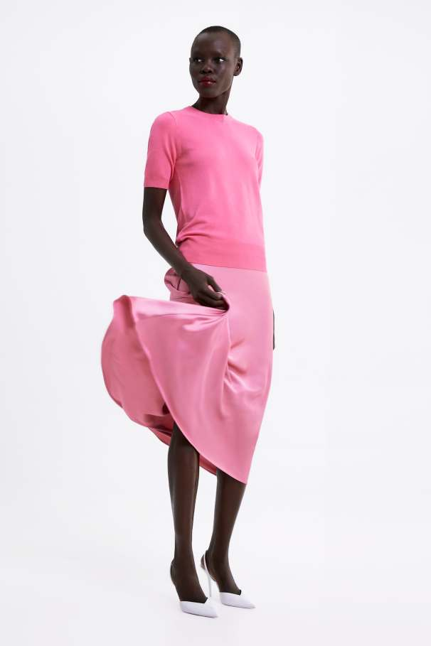 zara pink satin skirt