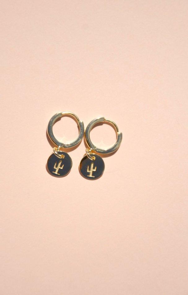 Cactus hoop earrings