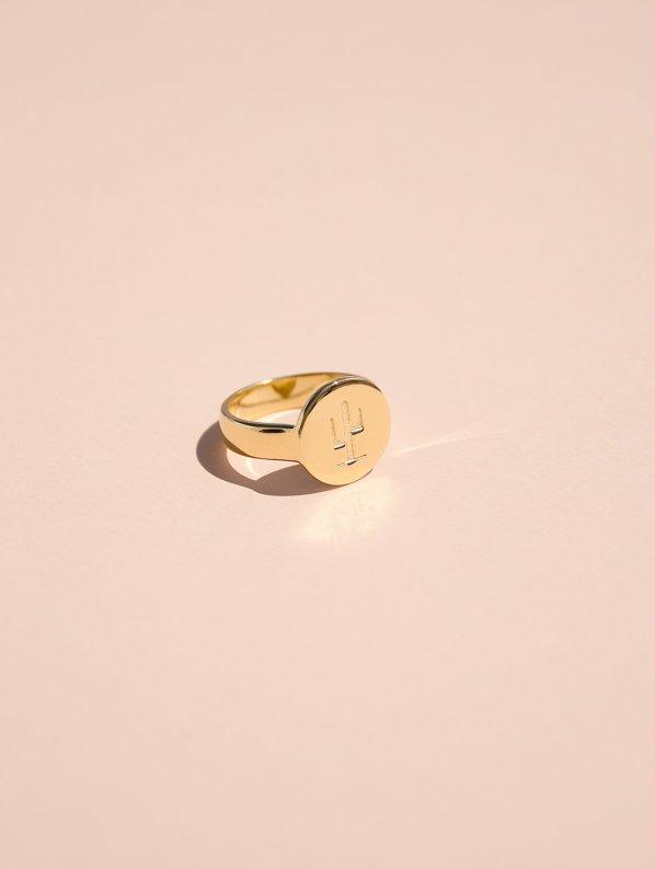 Cactus signet ring