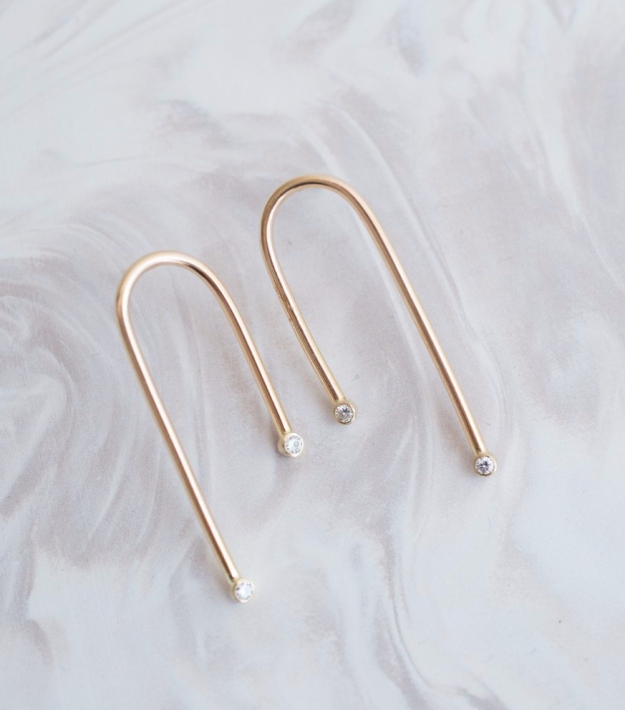 moissanite arc earrings