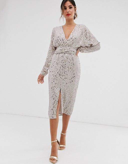asos sequin midi dress