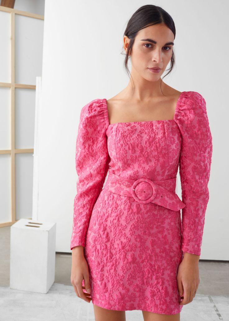 stories jacquard dress