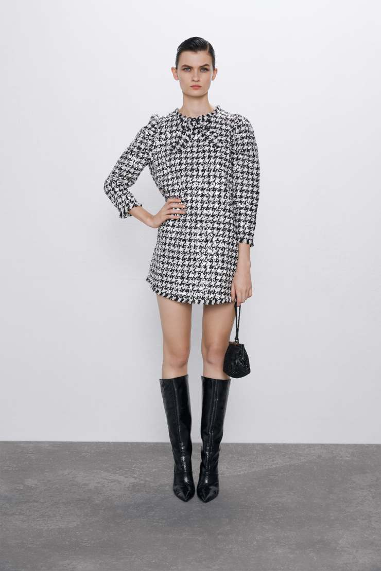 zara houndstooth dress