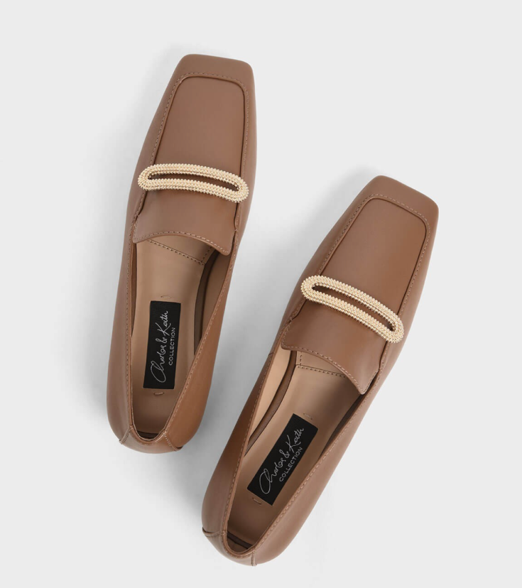 Metallic Accent Loafers, Charles & Keith