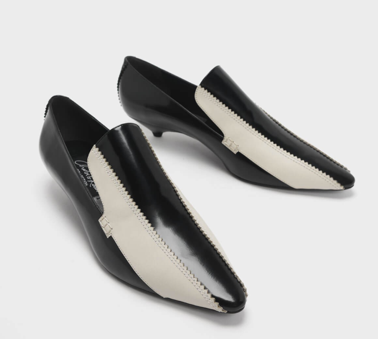 Two-Tone Kitten Heel Loafers, Charles & Keith